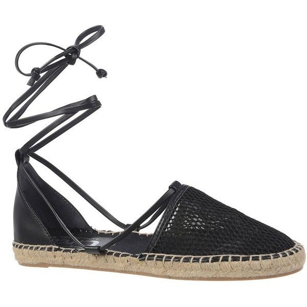 Circus By Sam Edelman Lily Espadrille Sandals (160 BRL) ❤ liked on Polyvore featuring shoes, sandals, flats, black, black lace up shoes, black espadrilles, lace-up sandals, round toe flats and black sandals