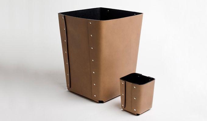 Leather Paper basket - rivets detail