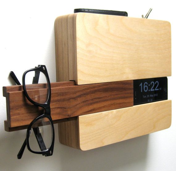 "Very cool handmade ""Butler"" to store glasses, keys, docked smartphone. We need this!"