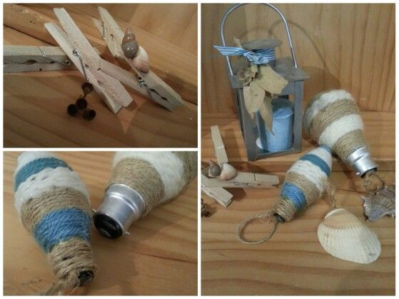 Beach theme decorations (shells & yarn, pegs with shells hot glued on, light globes with kniting yarn wrapped around)