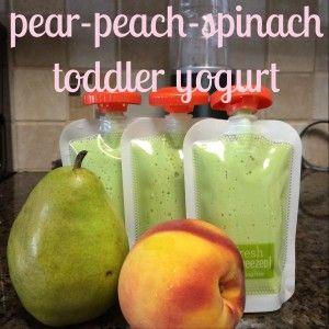 Homemade pear-peach-spinach toddler yogurt. Copycat Stonyfield toddler yogurt.