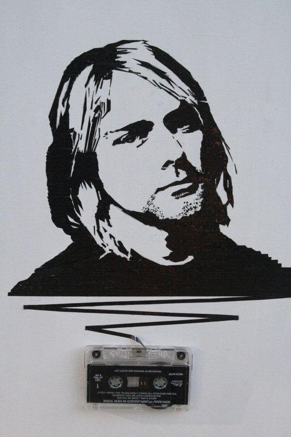 Kurt Cobain cassette tape art 16x20in ORIGINAL by mixtapemedia, $160.00