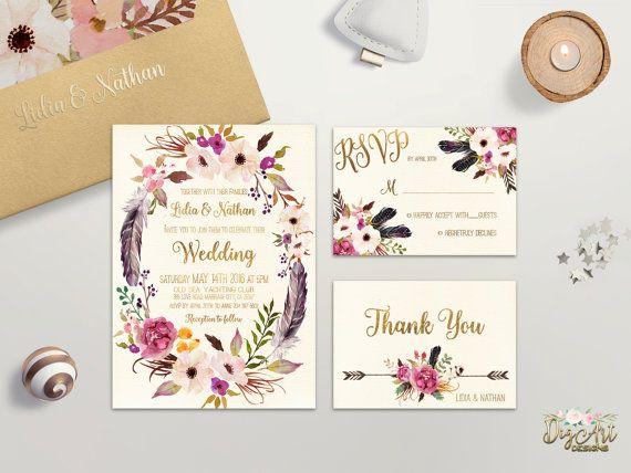 Floral Wedding Invitation Printable or Printed par DigartDesigns