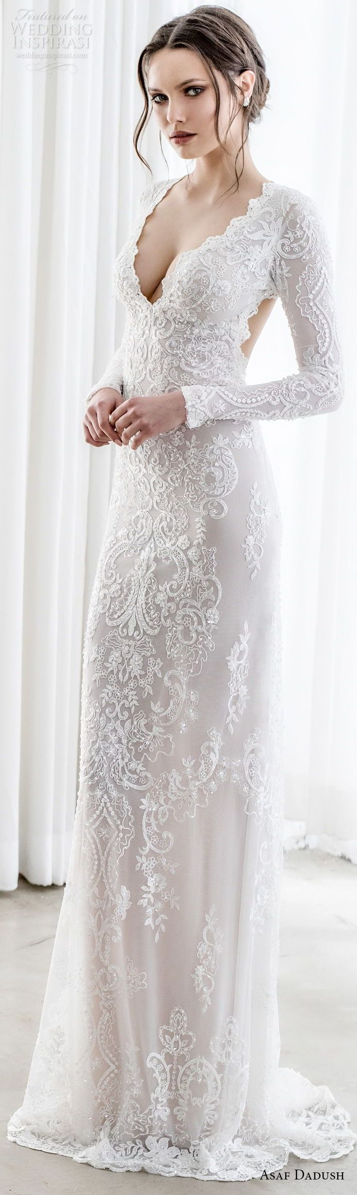 asaf dadush 2017 bridal long sleeves deep v sweetheart neckline full embellishment sexy elegant sheath wedding dress keyhole back sweep train (06) lv -- Asaf Dadush 2017 Wedding Dresses