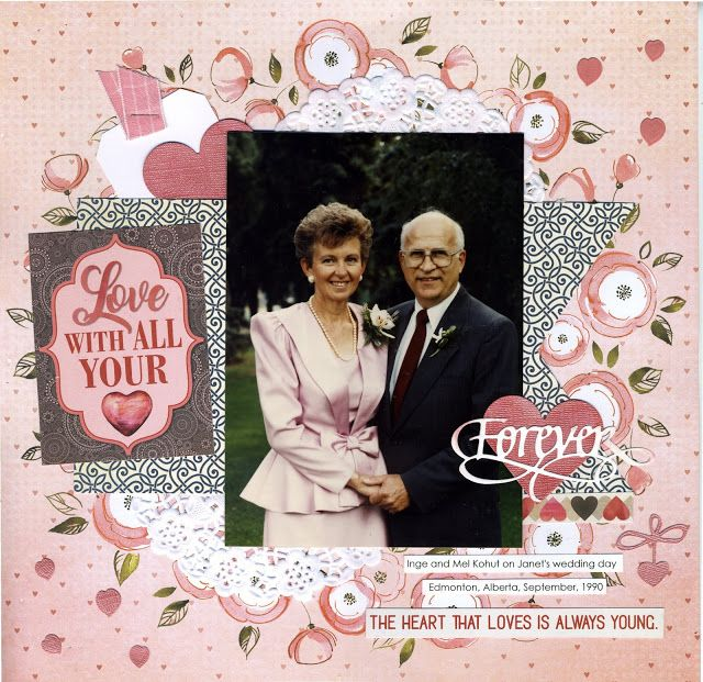 Forever Scrapbook Layout with Calligraphic Hearts