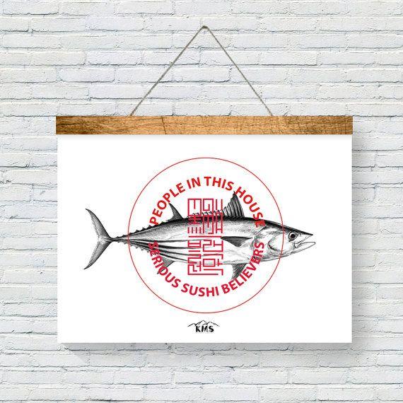 TUNA fish SUSHI POSTER Japanese Art Printable. by KeepMakingSmiles