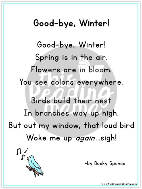 Good-bye Winter Poem for Spring by This Reading Mama
