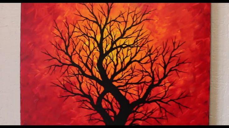 Tableau moderne : Silhouette d'arbre chaleureux. Pour voir un aperçu vidéo de cette œuvre, rendez-vous sur : https://youtu.be/3BLSHRYNXs4  Format : 50 cm x 50 cm x 3,5 cm. Prix : 200 Euros. Pour acheter cette œuvre, rendez-vous sur : http://www.artmajeur.com/fr/art-gallery/gallery/1520011/9680821/silhouette-d-arbre-chaleureux #tableau #moderne #silhouette #arbre #chaleureux #peinture #figurative #design #aperçu #vidéo