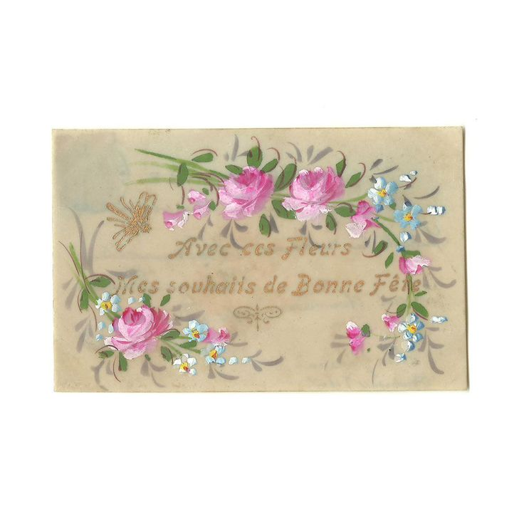 Hand Painted Celluloid OOAK Postcard, French Antique one-of-a-kind Happy Name Day Card, Green Pink Rose Flowers