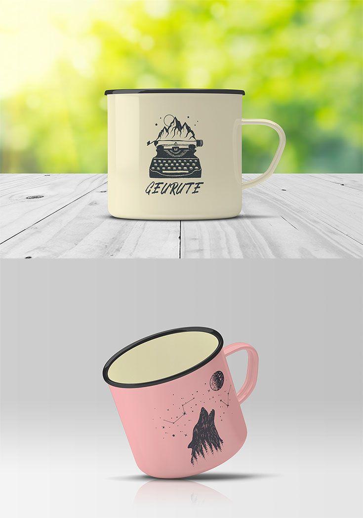 Free Enamel Mug Mockup Mockups Pinterest Mockup Mugs And