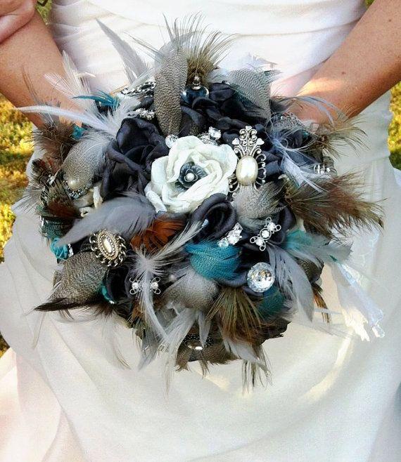 Vintage fabric brooch bridal bouquet by LeeJamesVintagePetal, $400.00