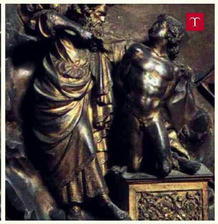Dettaglio della formella del concorso. 1401-1402. 45x38. Porta Nord del Battistero di Firenze.  Cita il torso Gaddi