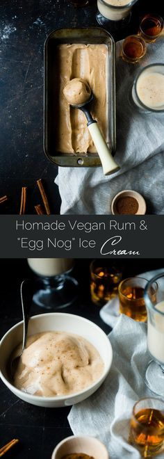 "Vegan Rum and ""Egg Nog"" Ice Cream - This creamy, coconut milk ice cream tastes like frosty version of drinking a rum and eggnog...without the dairy or eggs! It's a healthy treat for the holidays! 