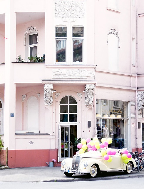 oh, how festive!: Paris Apartment, Classic Cars, Pink House, Retro Cars, Pale Pink, Getaways Cars, Wedding Cars, Balloon, Old Cars