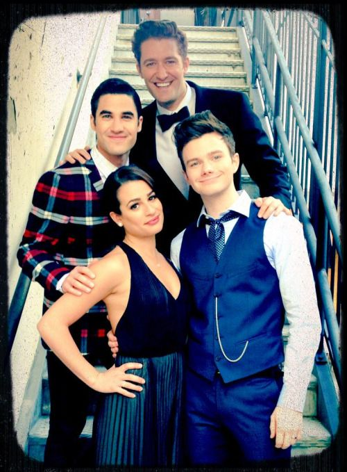 Lea Michele, Chris Colfer, Darren Criss and Matthew Morrison on the last day of filming Glee