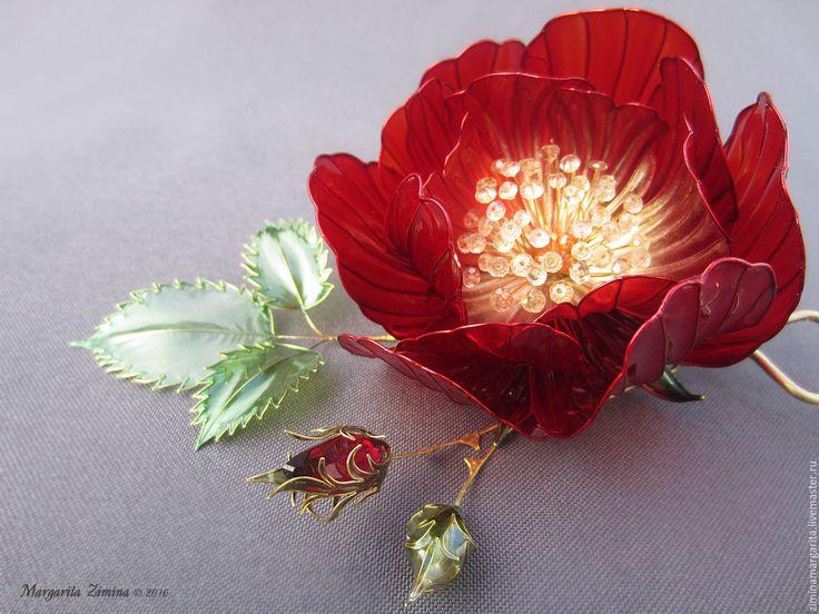 Купить Красная Роза. Шпилька для украшения прически. Ювелирное украшение…
