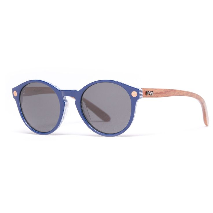 The Proof 'Hayburn' Blue sunglasses are made from real wood & plant-based materials.. The combination of brown wood and blue lenses looks really unique! They're great for someone who wants a pair of sunglasses that are a little more adventurous, with an eco edge.