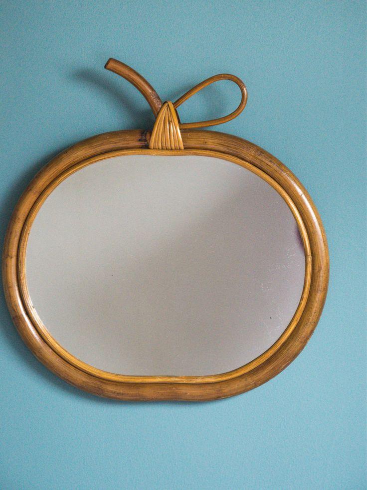 Miroir Rotin pomme / Vintage rotin miroir