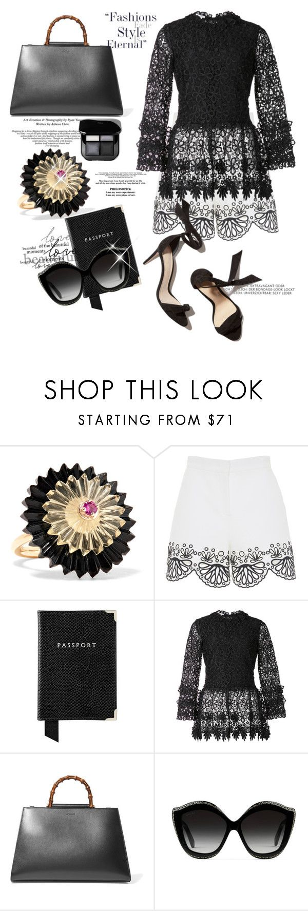 """""""EyeLet high waisted shorts..."""" by csfshawn on Polyvore featuring Alice Cicolini, Emilio Pucci, Aspinal of London, Oscar de la Renta and Gucci"""