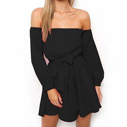 bbbc4692c7f Misaky Women Off Shoulder Long Sleeve Belted Summer Black Red White Dress