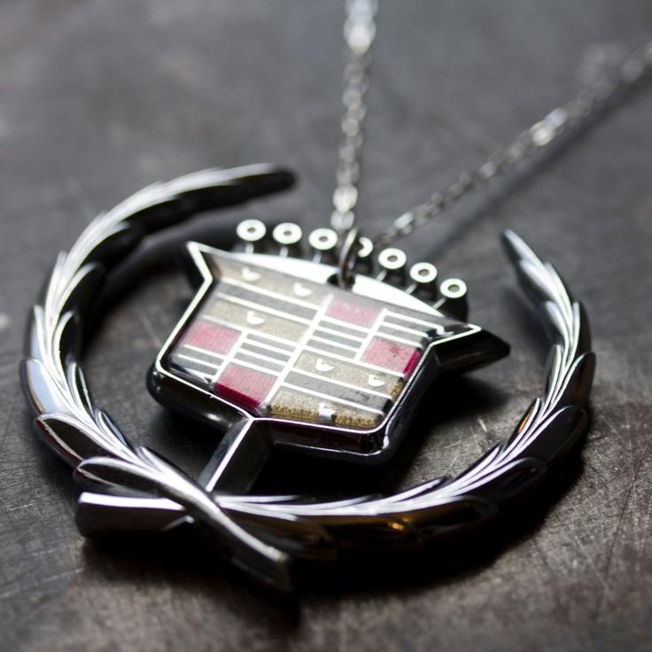 big bad CADDY CREST necklace - vintage CADILLAC. $55.00, via Etsy.