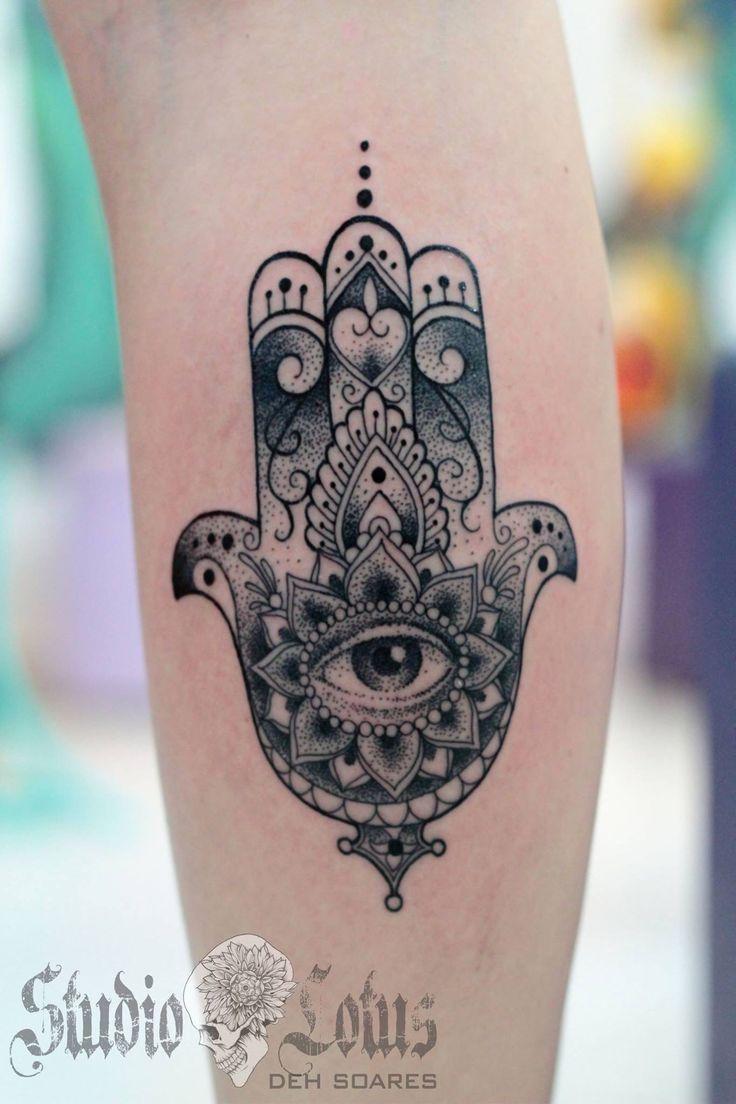 Hamsa tattoo in line & dots. Done at Studio Lotus, Campinas-SP, BRAZIL. Deborah (Deh) Soares. More : facebook.com/studiolotustatuagem
