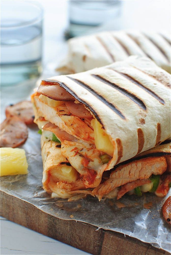 Grilled Hawaiian Pizza Burritos http://bevcooks.com/2013/09/grilled-hawaiian-pizza-burritos/