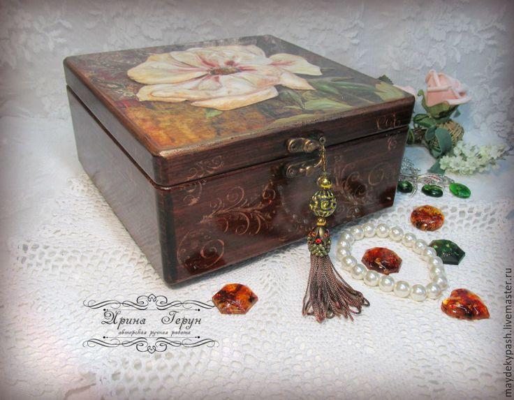 """Купить Шкатулка   для украшений """"Пион"""" - коричневый, шкатулка, шкатулка ручной работы, шкатулка для хранения"""