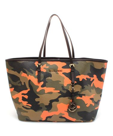 Poppy Camouflage Jet Set Travel Leather Tote by MICHAEL Michael Kors  #zulily #zulilyfinds