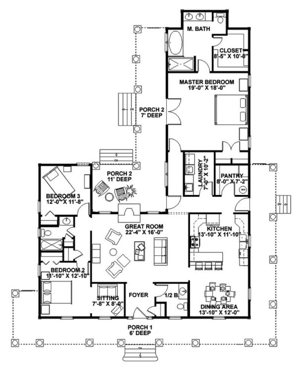 farmhouse floor plans with wrap around porch   Traditional House Plan First Floor - 028D-0054   House Plans and More by Karen Tyson McBride