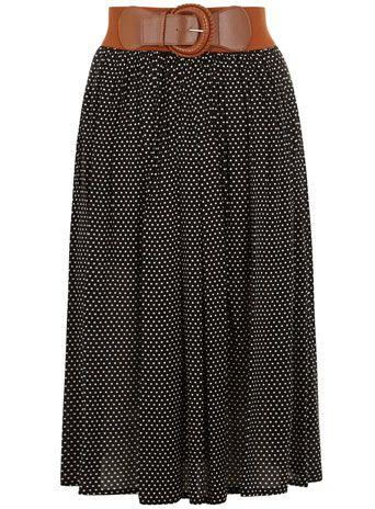 Black polka dot midi skirt