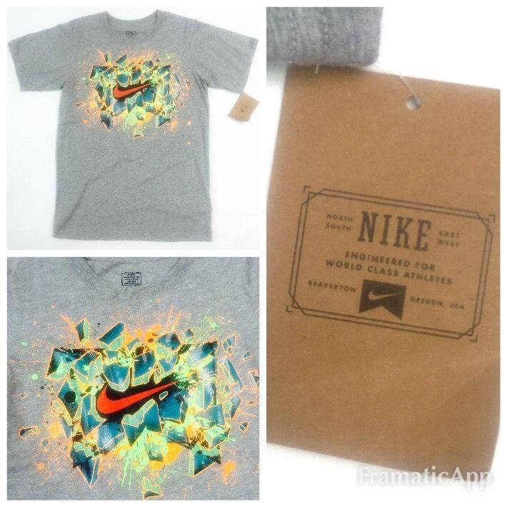 Nike Swoosh Logo Bold Graffiti Graphic Boys 10 12 Grey Heather | eBay
