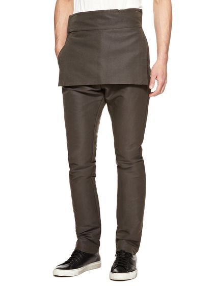 """OK, so they are billing designer Rick Owens as """"edgy"""" and """"boundary-pushing."""" I'm curious. Don't know his work. I look and find what he calls Tarp Trousers in a cotton/nylon/silk blend. My sister-in-law likes this silhouette in dresses because that peplum hides a lot of flaws. Would you pay $499 for peplum pants? How about a kneelength sleeveless cashmere tunic? Guess I'm too far from the edge and not ready for my boundaries to be pushed. [23-06-13]"""