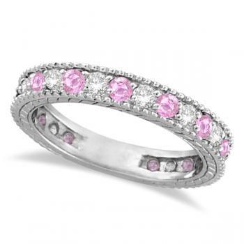 Diamond & Pink Sapphire Wedding Band in 14k White Gold (1.08ctw) - Allurez.com