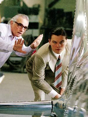 "Image result for Director Martin Scorsese with actor Leonardo DiCaprio blocking a scene from the film ""The Aviator"""