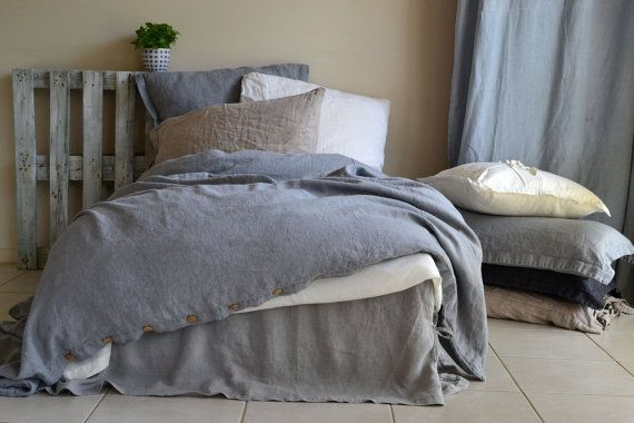 Pre-order only. Limited edition. Dove Grey Stonewashed Heavy Weight Rustic Linen Bedding. King and Queen sizes