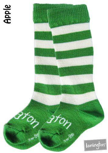 For Kids: Lamington Merino Sockings - Apple   #merino #socks #kids #green #stripe