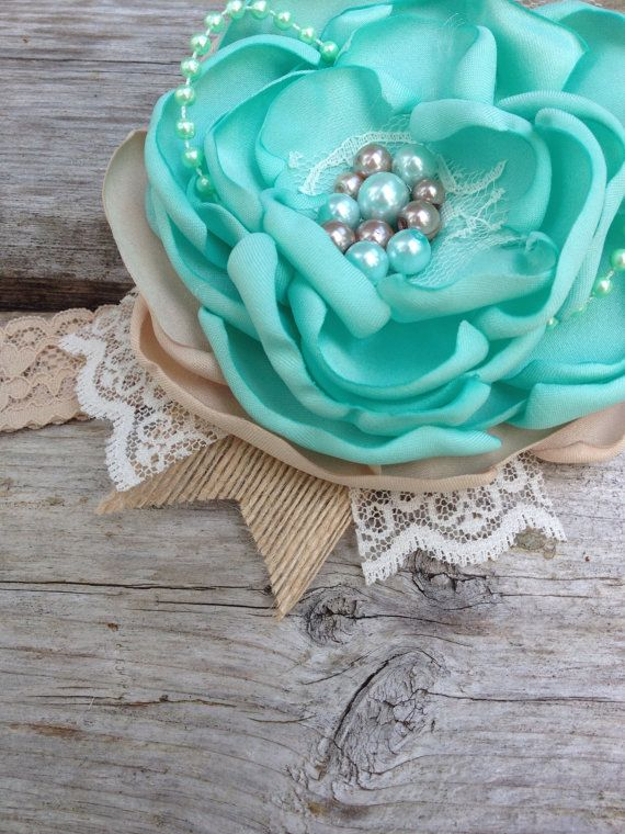 Mint and Taupe satin flower bow with vintage by LittleSparrowBows…