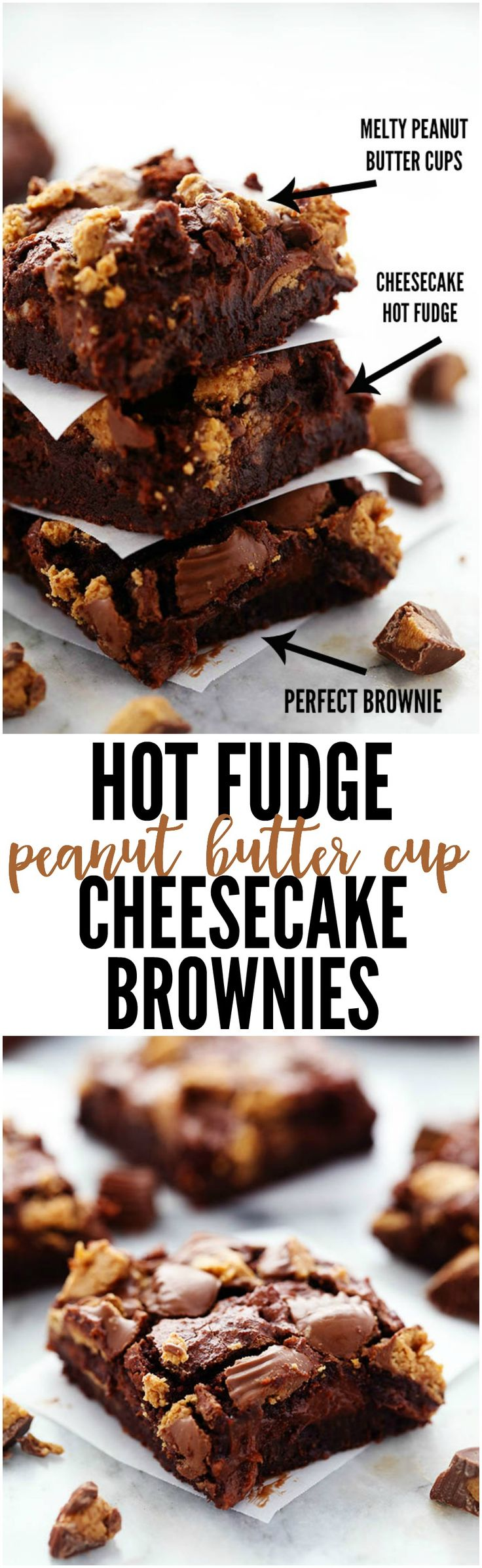 Ultra rich brownies with a creamy hot fudge cheesecake center and topped with peanut butter cups. So many delicious things in one amazing brownie that your family will go crazy for!