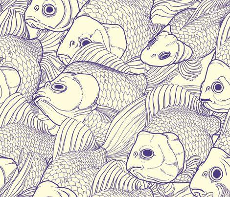 Ryukin goldfish patterned fabric by Bonsaimechagirl