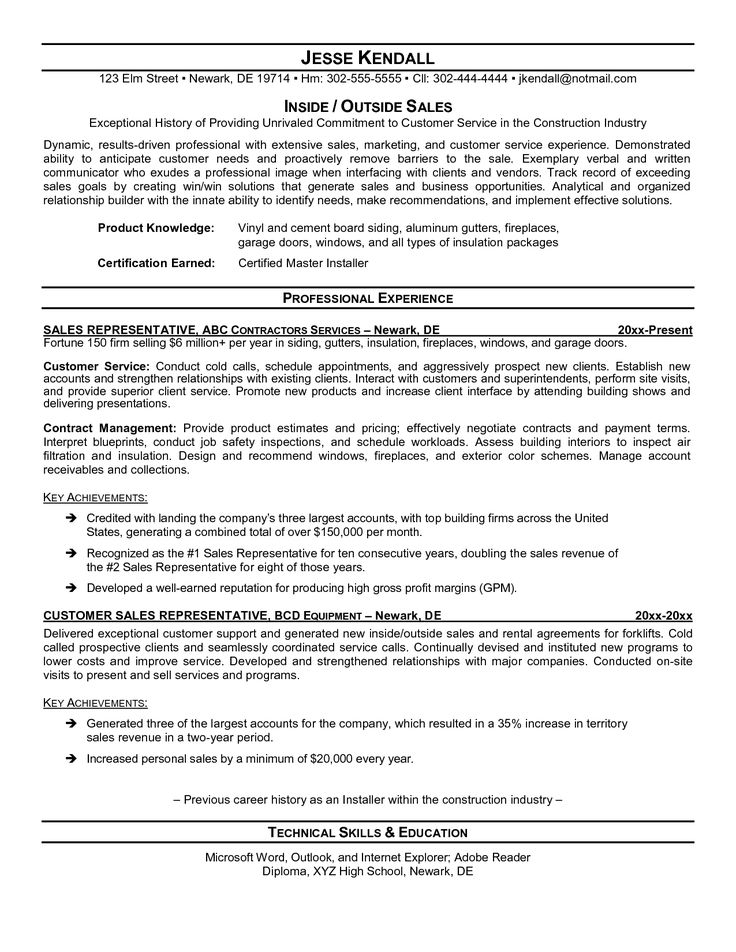 outside sales resume examples - Google Search