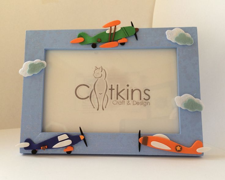 Blue Picture Frame with an Aeroplane Theme by CatkinsCrafts on Etsy
