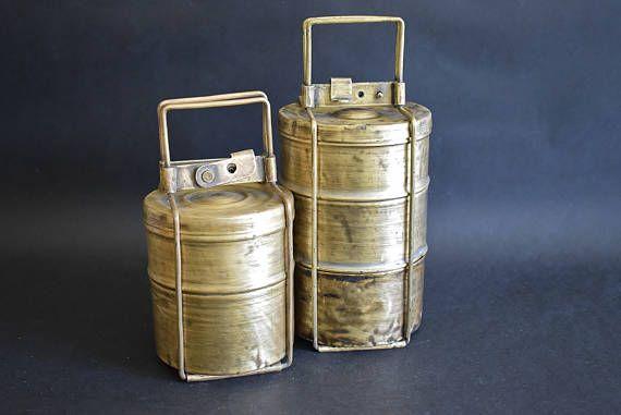Antieke Tiffin Lunchboxen Landelijk Decor. Koperen Set