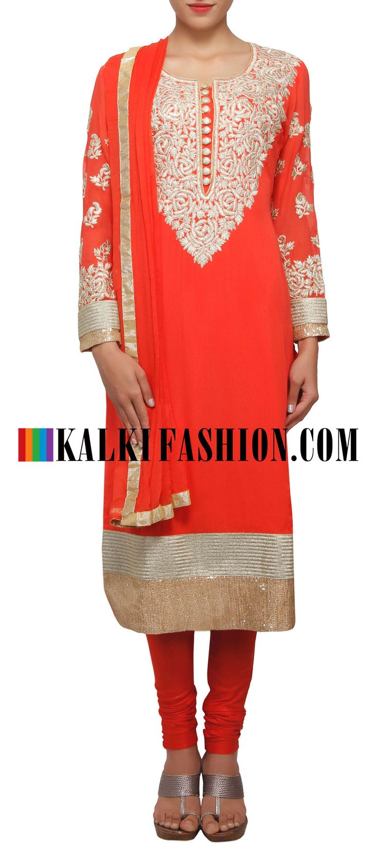 Buy Online from the link below. We ship worldwide (Free Shipping over US$100) http://www.kalkifashion.com/peach-straight-fit-suit-enhanced-in-zari-embroidery-only-on-kalki.html