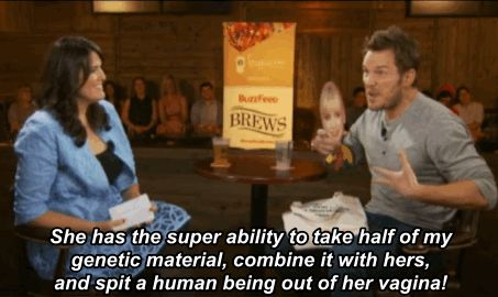 First up was Chris' very own wife, Anna Farris:   Chris Pratt Gives His Famous Friends Their Own Superhero Names