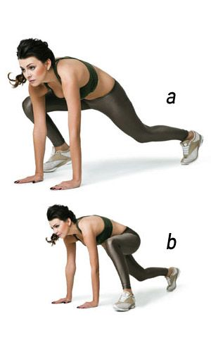 DIA 3:   Escalada  a. Em posição de flexão de braço, traga o pé direito próximo à mão direita e deixe a perna esquerda estendida para trás, sem encostar o joelho no chão.  b. Dê um impulso e troque a posição das pernas, levando o pé esquerdo perto da mão esquerda e a perna direita atrás.