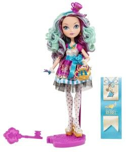 Ever After High Dolls: Madeline Hatter Doll Madeline Hatter is the Daughter of the Mad Hatter and just like her father, she too is just a touch eccentric. Maddie's colors are blue, purple and gold. On top of her head is a purple and gold teacup on a blue headband. http://awsomegadgetsandtoysforgirlsandboys.com/ever-after-high-dolls/  Ever After High Dolls: Madeline Hatter Doll