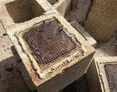 how do you keep the soil in the cinder blocks