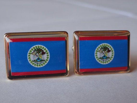 Belize Flag Cufflinks by LoudCufflinks on Etsy, $25.00