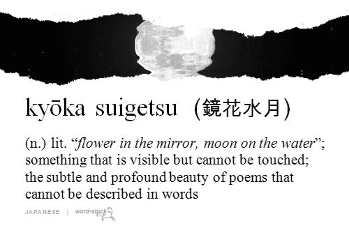 鏡花水月 【きょうかすいげつ】 (n) flowers reflected on a mirror and the moon reflected on the water's surface; something that is visible but having no substance; the subtle and profound beauty of poems that cannot be described in words.
